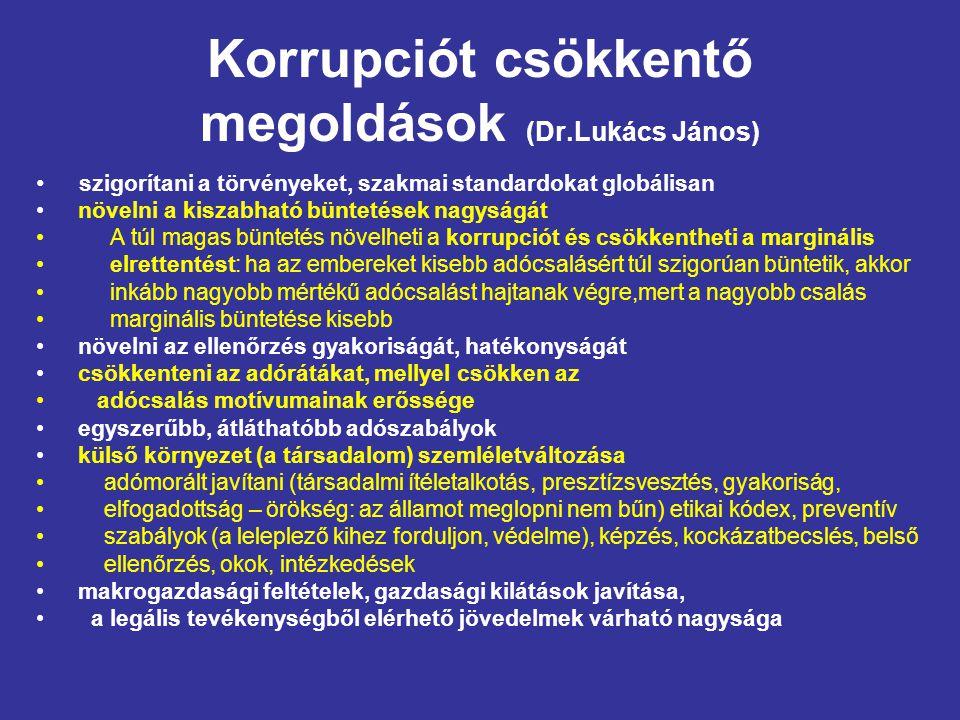 Korrupciót csökkentő megoldások (Dr.Lukács János) szigorítani a törvényeket, szakmai standardokat globálisan növelni a kiszabható büntetések nagyságát