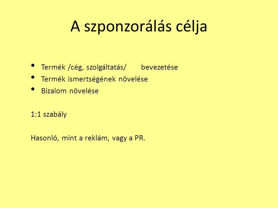 A szponzorálás célja Termék /cég, szolgáltatás/ bevezetése Termék ismertségének növelése Bizalom növelése 1:1 szabály Hasonló, mint a reklám, vagy a P