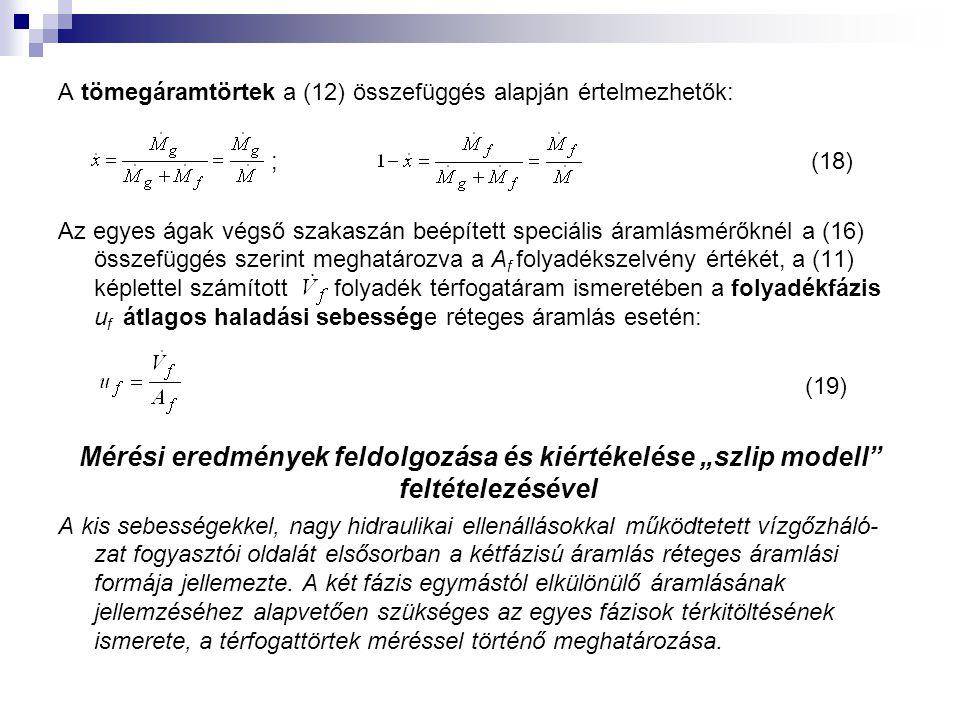 """A tömegáramtörtek a (12) összefüggés alapján értelmezhetők: ; (18) Az egyes ágak végső szakaszán beépített speciális áramlásmérőknél a (16) összefüggés szerint meghatározva a A f folyadékszelvény értékét, a (11) képlettel számított folyadék térfogatáram ismeretében a folyadékfázis u f átlagos haladási sebessége réteges áramlás esetén: (19) Mérési eredmények feldolgozása és kiértékelése """"szlip modell feltételezésével A kis sebességekkel, nagy hidraulikai ellenállásokkal működtetett vízgőzháló- zat fogyasztói oldalát elsősorban a kétfázisú áramlás réteges áramlási formája jellemezte."""