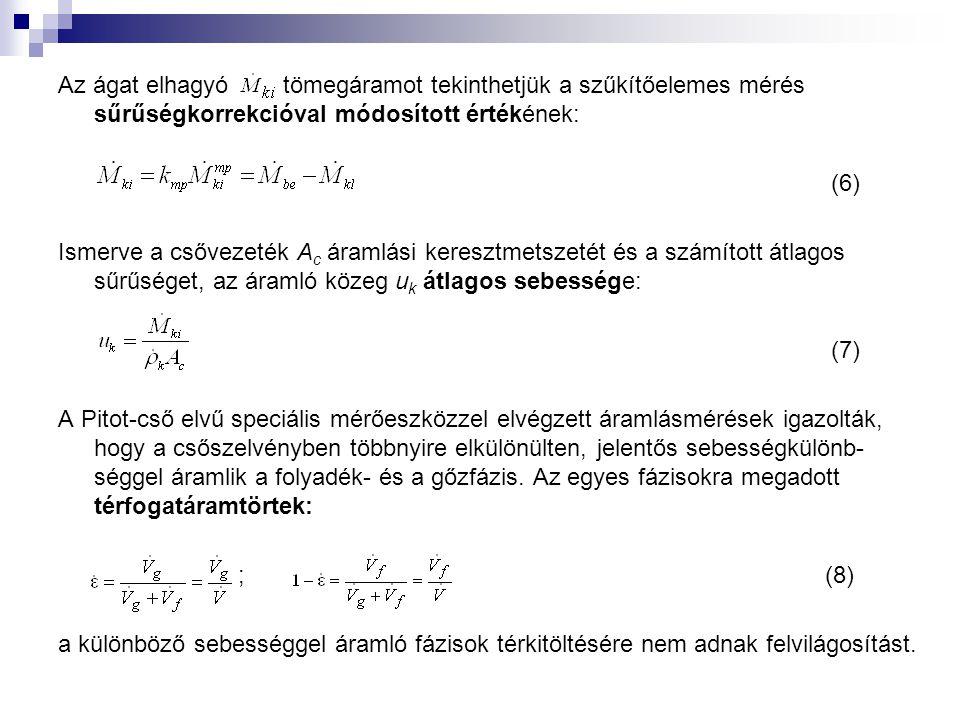 Az ágat elhagyó tömegáramot tekinthetjük a szűkítőelemes mérés sűrűségkorrekcióval módosított értékének: (6) Ismerve a csővezeték A c áramlási keresztmetszetét és a számított átlagos sűrűséget, az áramló közeg u k átlagos sebessége: (7) A Pitot-cső elvű speciális mérőeszközzel elvégzett áramlásmérések igazolták, hogy a csőszelvényben többnyire elkülönülten, jelentős sebességkülönb- séggel áramlik a folyadék- és a gőzfázis.