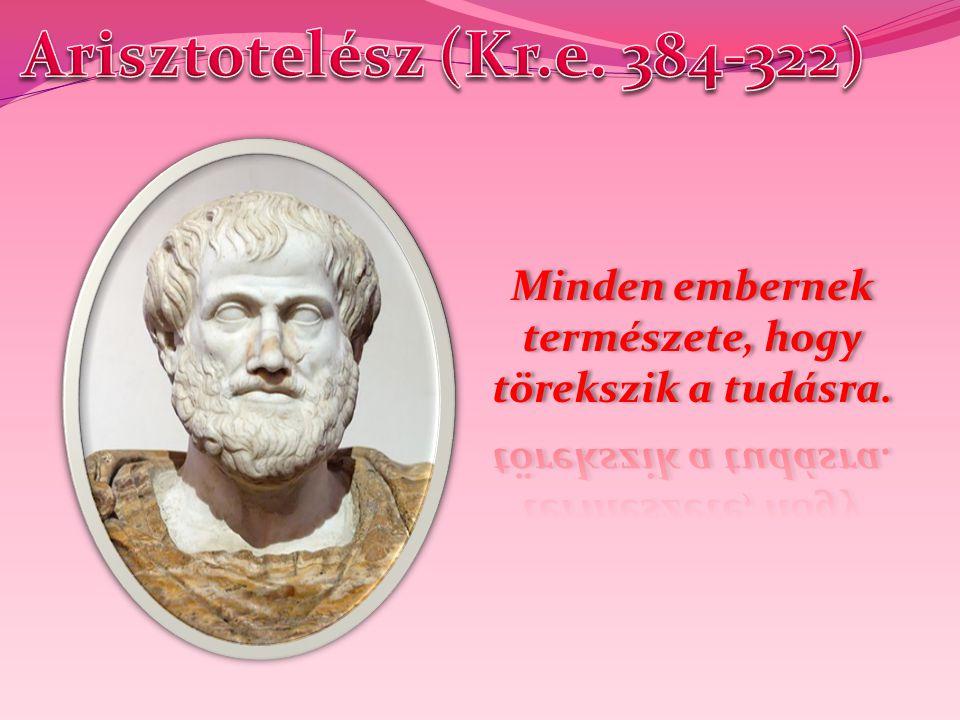Arisztotelész i.e.384-ben született Sztagirában. Tizennyolc éves, amikor Platón tanítványa lesz.