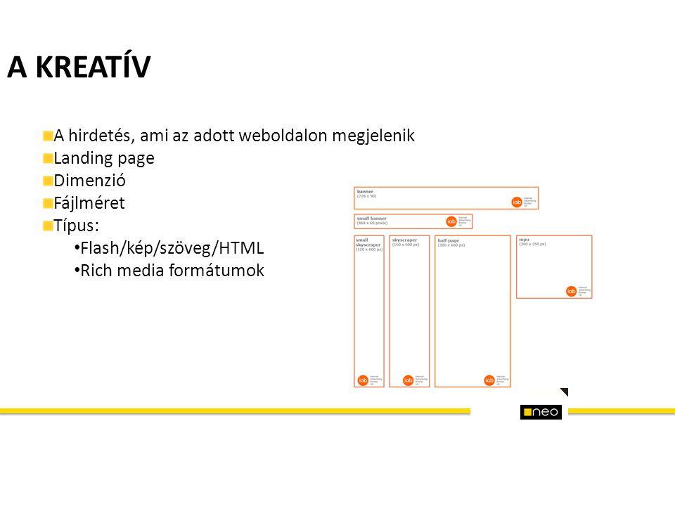 A KREATÍV A hirdetés, ami az adott weboldalon megjelenik Landing page Dimenzió Fájlméret Típus: Flash/kép/szöveg/HTML Rich media formátumok