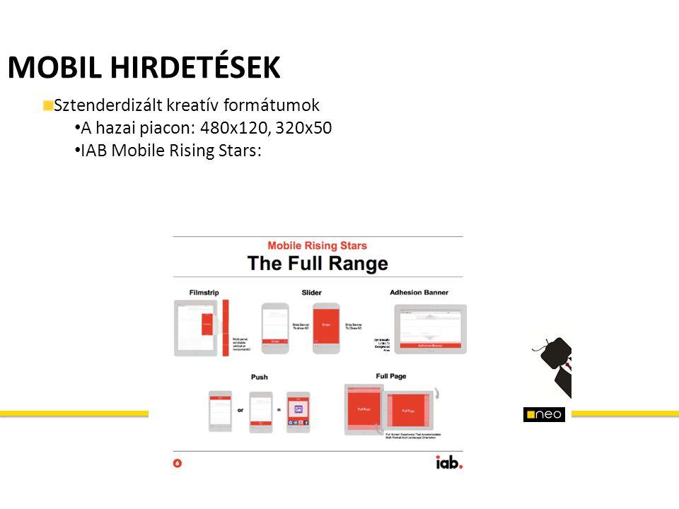 MOBIL HIRDETÉSEK Sztenderdizált kreatív formátumok A hazai piacon: 480x120, 320x50 IAB Mobile Rising Stars:
