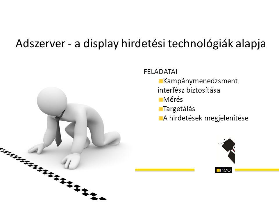Adszerver - a display hirdetési technológiák alapja FELADATAI Kampánymenedzsment interfész biztosítása Mérés Targetálás A hirdetések megjelenítése
