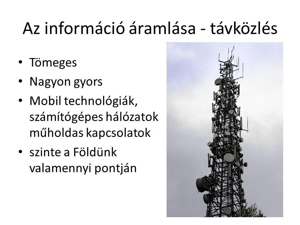Az információ áramlása - távközlés Tömeges Nagyon gyors Mobil technológiák, számítógépes hálózatok műholdas kapcsolatok szinte a Földünk valamennyi po