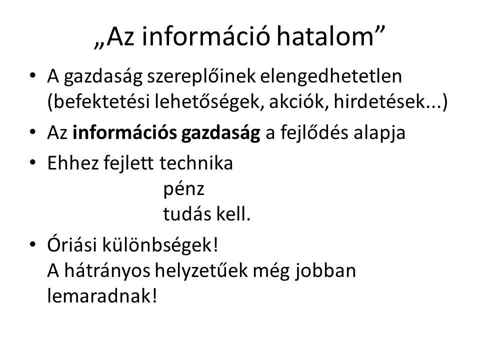 """""""Az információ hatalom"""" A gazdaság szereplőinek elengedhetetlen (befektetési lehetőségek, akciók, hirdetések...) Az információs gazdaság a fejlődés al"""