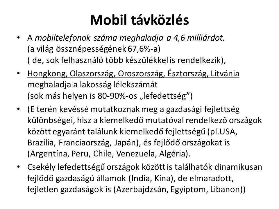 Mobil távközlés A mobiltelefonok száma meghaladja a 4,6 milliárdot. (a világ össznépességének 67,6%-a) ( de, sok felhasználó több készülékkel is rende