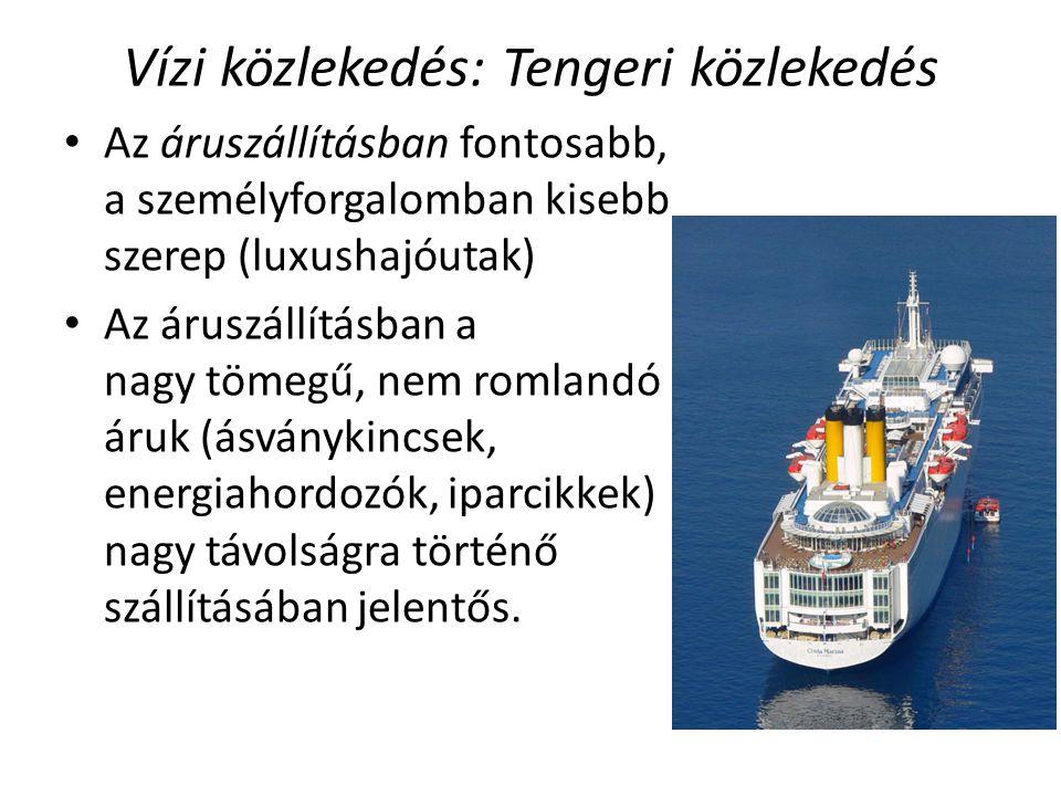 Vízi közlekedés: Tengeri közlekedés Az áruszállításban fontosabb, a személyforgalomban kisebb szerep (luxushajóutak) Az áruszállításban a nagy tömegű,