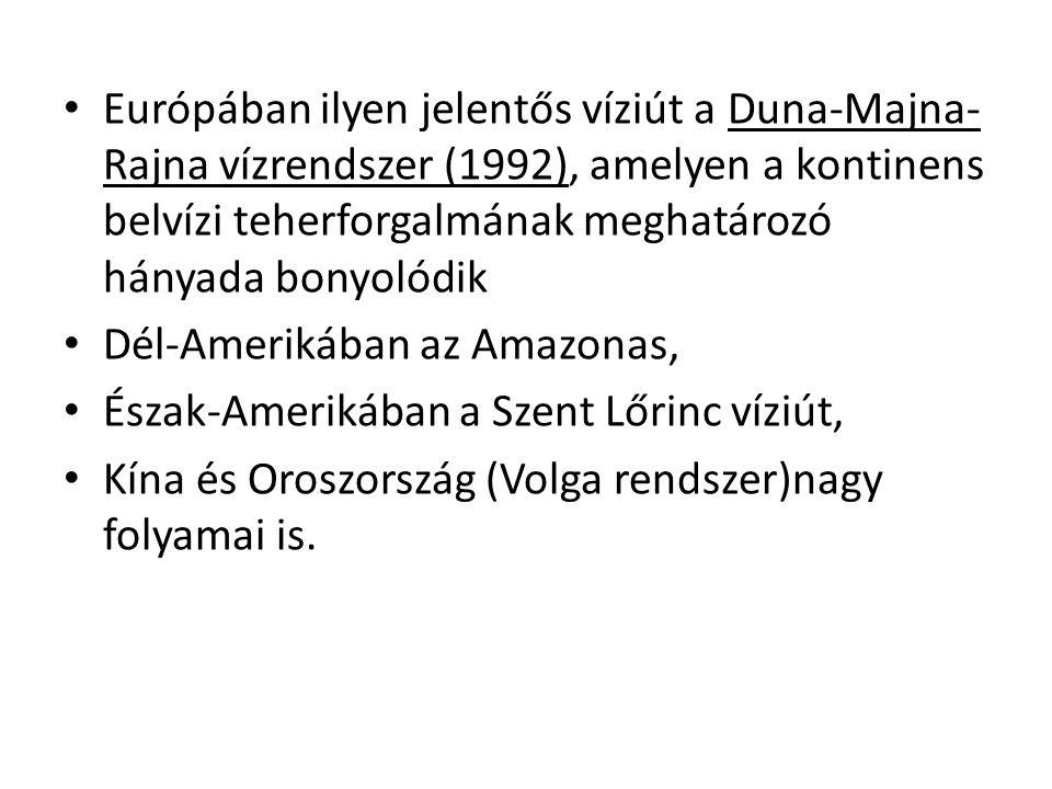 Európában ilyen jelentős víziút a Duna-Majna- Rajna vízrendszer (1992), amelyen a kontinens belvízi teherforgalmának meghatározó hányada bonyolódik Dé