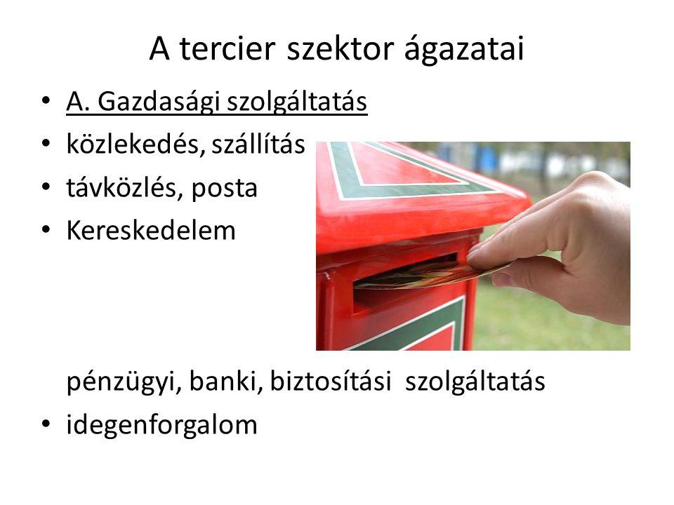 A tercier szektor ágazatai A. Gazdasági szolgáltatás közlekedés, szállítás távközlés, posta Kereskedelem pénzügyi, banki, biztosítási szolgáltatás ide