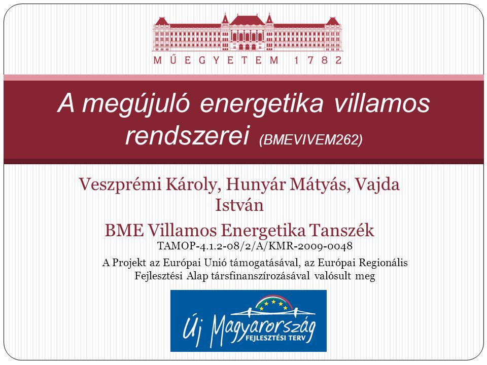 Veszprémi Károly, Hunyár Mátyás, Vajda István BME Villamos Energetika Tanszék A megújuló energetika villamos rendszerei (BMEVIVEM262) TAMOP-4.1.2-08/2