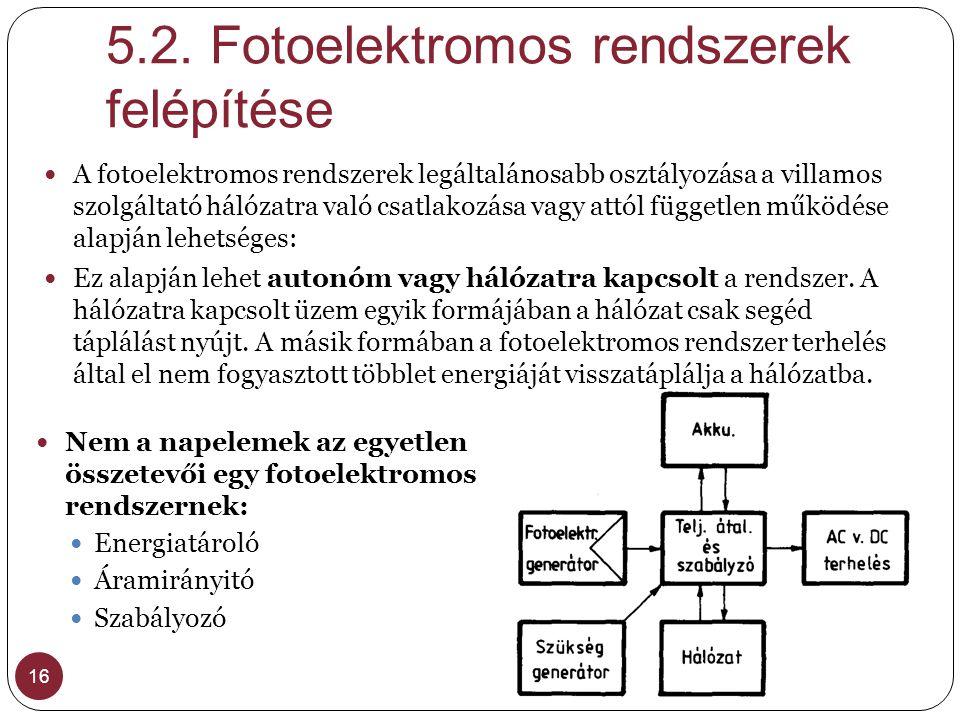 5.2. Fotoelektromos rendszerek felépítése 16 A fotoelektromos rendszerek legáltalánosabb osztályozása a villamos szolgáltató hálózatra való csatlakozá