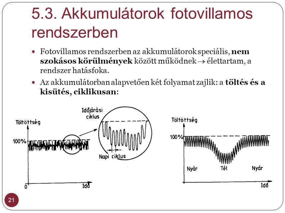 5.3. Akkumulátorok fotovillamos rendszerben 21 Fotovillamos rendszerben az akkumulátorok speciális, nem szokásos körülmények között működnek  élettar