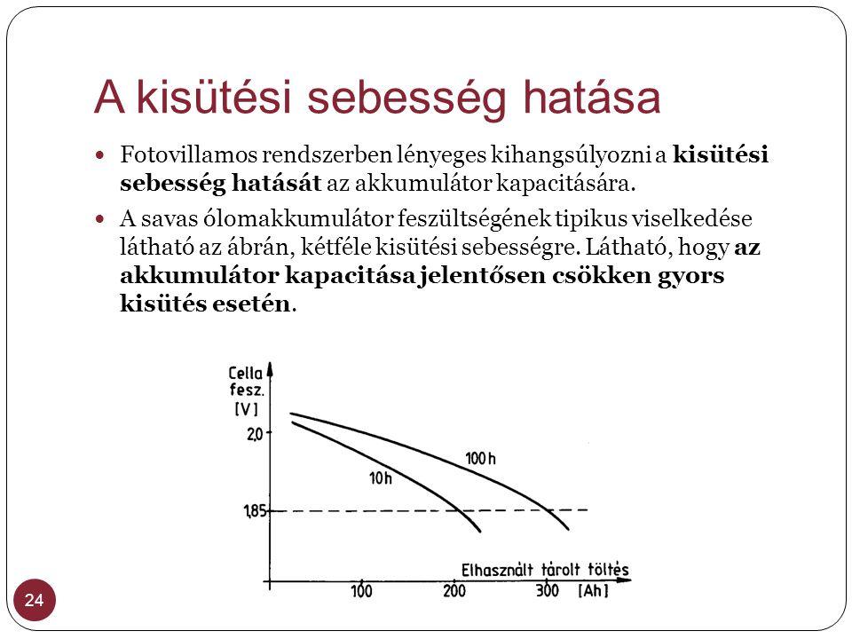 A kisütési sebesség hatása 24 Fotovillamos rendszerben lényeges kihangsúlyozni a kisütési sebesség hatását az akkumulátor kapacitására. A savas ólomak