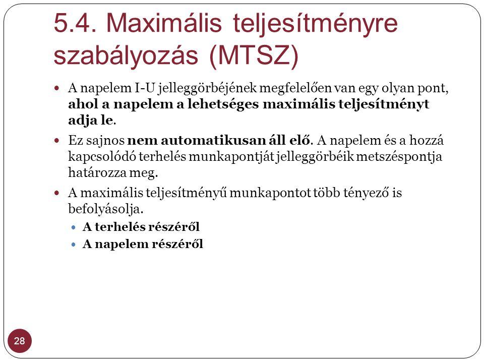 5.4. Maximális teljesítményre szabályozás (MTSZ) 28 A napelem I-U jelleggörbéjének megfelelően van egy olyan pont, ahol a napelem a lehetséges maximál