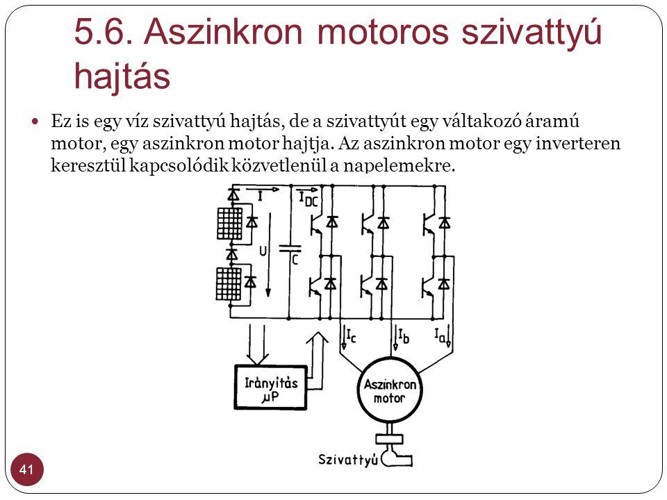 5.6. Aszinkron motoros szivattyú hajtás 41 Ez is egy víz szivattyú hajtás, de a szivattyút egy váltakozó áramú motor, egy aszinkron motor hajtja. Az a