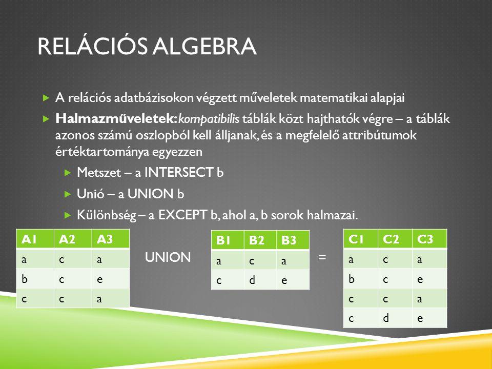 RELÁCIÓS ALGEBRA  A relációs adatbázisokon végzett műveletek matematikai alapjai  Halmazműveletek: kompatibilis táblák közt hajthatók végre – a tábl