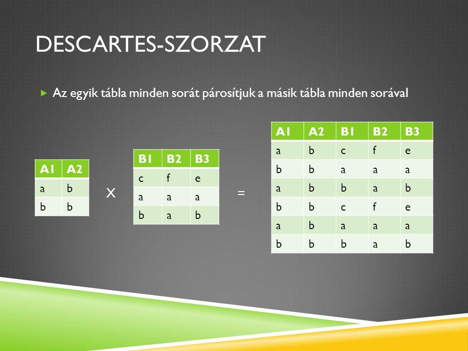 DESCARTES-SZORZAT  Az egyik tábla minden sorát párosítjuk a másik tábla minden sorával X = A1A2 ab bb B1B2B3 cfe aaa bab A1A2B1B2B3 abcfe bbaaa abbab