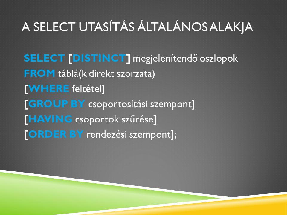 A SELECT UTASÍTÁS ÁLTALÁNOS ALAKJA SELECT [DISTINCT] megjelenítendő oszlopok FROM táblá(k direkt szorzata) [WHERE feltétel] [GROUP BY csoportosítási s