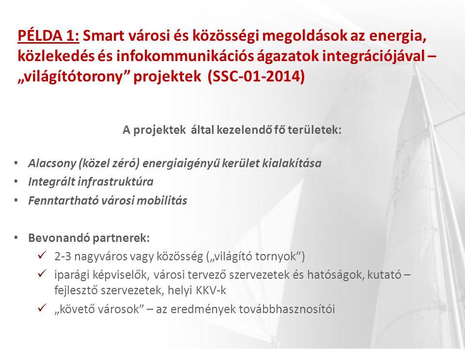 """PÉLDA 1: Smart városi és közösségi megoldások az energia, közlekedés és infokommunikációs ágazatok integrációjával – """"világítótorony"""" projektek (SSC-0"""