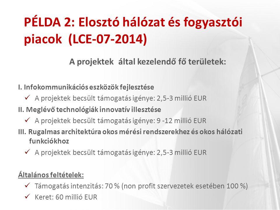 A projektek által kezelendő fő területek: I. Infokommunikációs eszközök fejlesztése A projektek becsült támogatás igénye: 2,5-3 millió EUR II. Meglévő