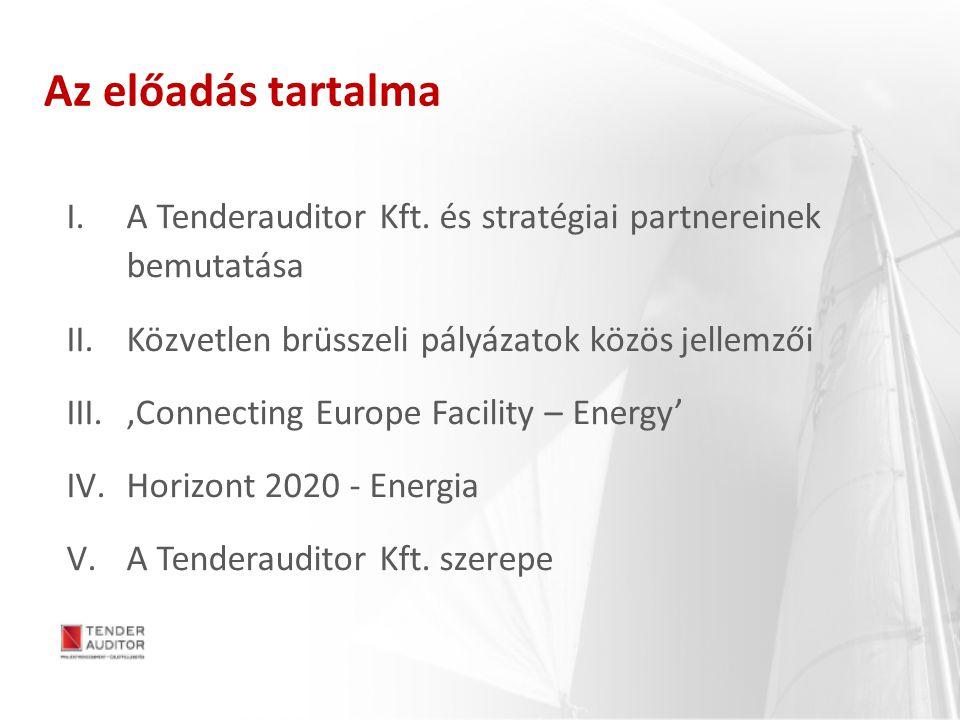 Az előadás tartalma I.A Tenderauditor Kft. és stratégiai partnereinek bemutatása II.Közvetlen brüsszeli pályázatok közös jellemzői III.'Connecting Eur