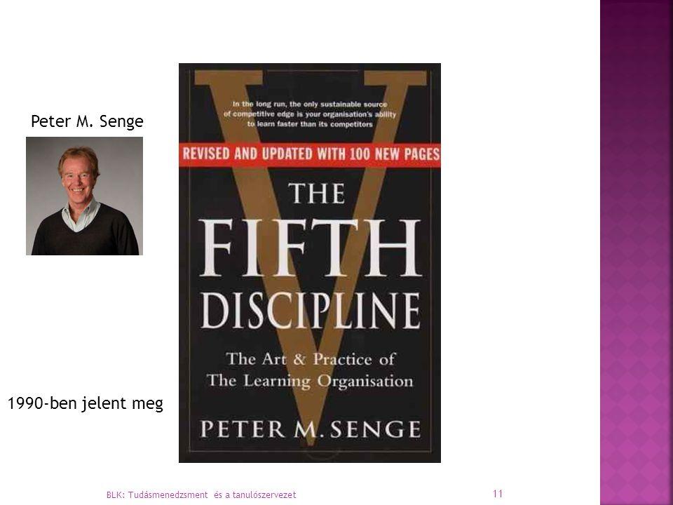BLK: Tudásmenedzsment és a tanulószervezet 11 1990-ben jelent meg Peter M. Senge