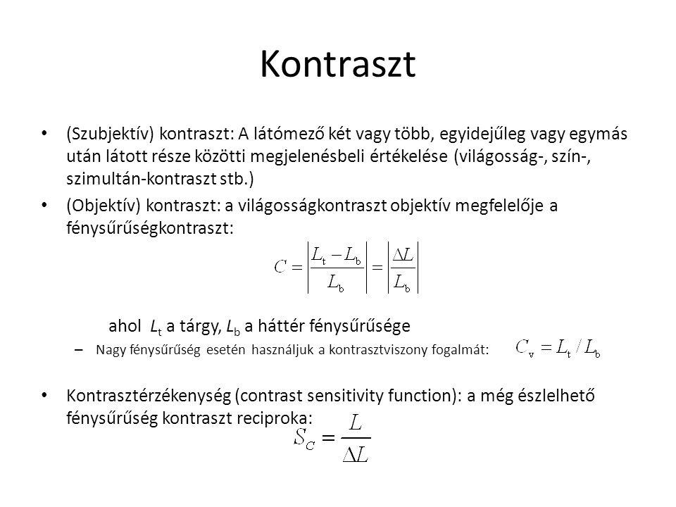 Kontraszt (Szubjektív) kontraszt: A látómező két vagy több, egyidejűleg vagy egymás után látott része közötti megjelenésbeli értékelése (világosság-,