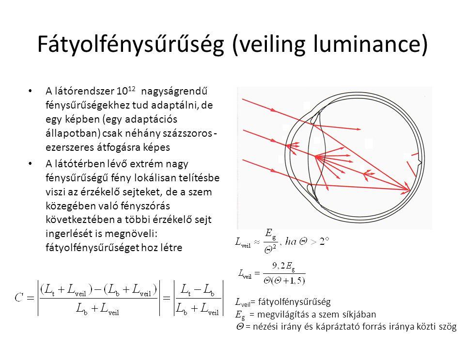 Fátyolfénysűrűség (veiling luminance) A látórendszer 10 12 nagyságrendű fénysűrűségekhez tud adaptálni, de egy képben (egy adaptációs állapotban) csak