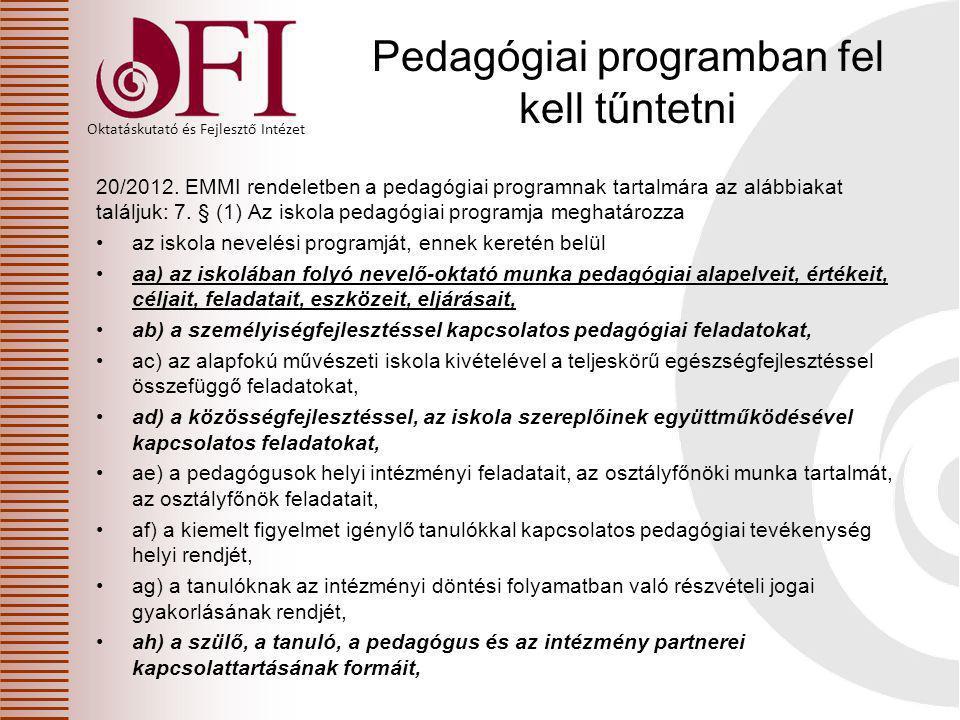 Oktatáskutató és Fejlesztő Intézet Pedagógiai programban fel kell tűntetni 20/2012. EMMI rendeletben a pedagógiai programnak tartalmára az alábbiakat