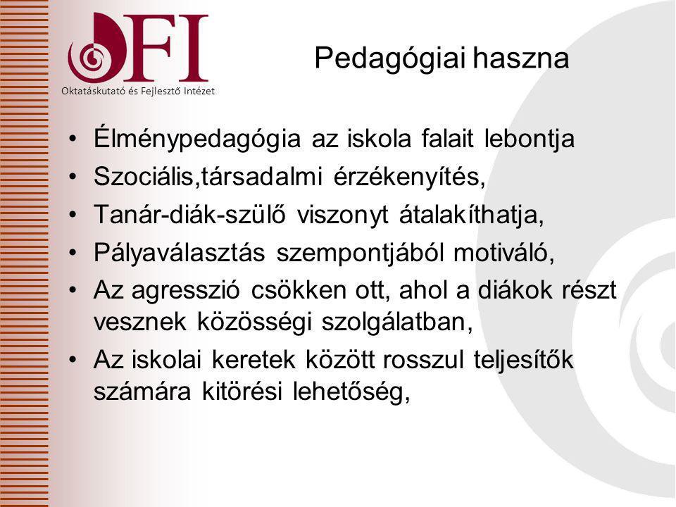 Oktatáskutató és Fejlesztő Intézet Pedagógiai haszna Élménypedagógia az iskola falait lebontja Szociális,társadalmi érzékenyítés, Tanár-diák-szülő vis