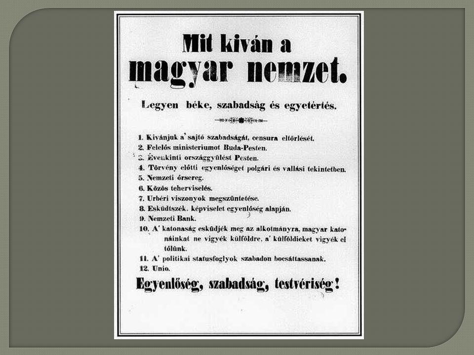  Másnap, március 16-án már Pest vármegye alispánja, Nyáry Pál, Rottenbiller Lipót polgármester és mások állottak a mozgalom élére és így lett az országos jelent ő ség ű vé.