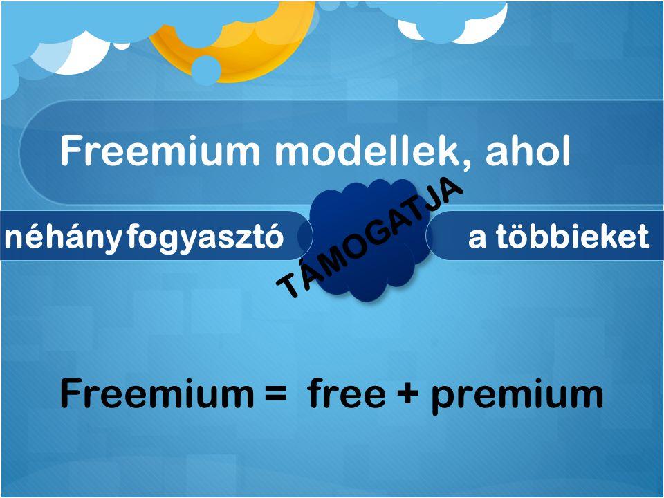 Freemium modellek, ahol néhány fogyasztóa többieket TÁMOGATJA Freemium = free + premium