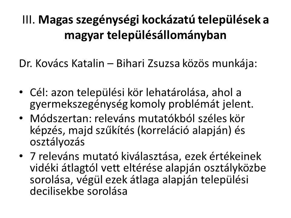 III. Magas szegénységi kockázatú települések a magyar településállományban Dr. Kovács Katalin – Bihari Zsuzsa közös munkája: Cél: azon települési kör