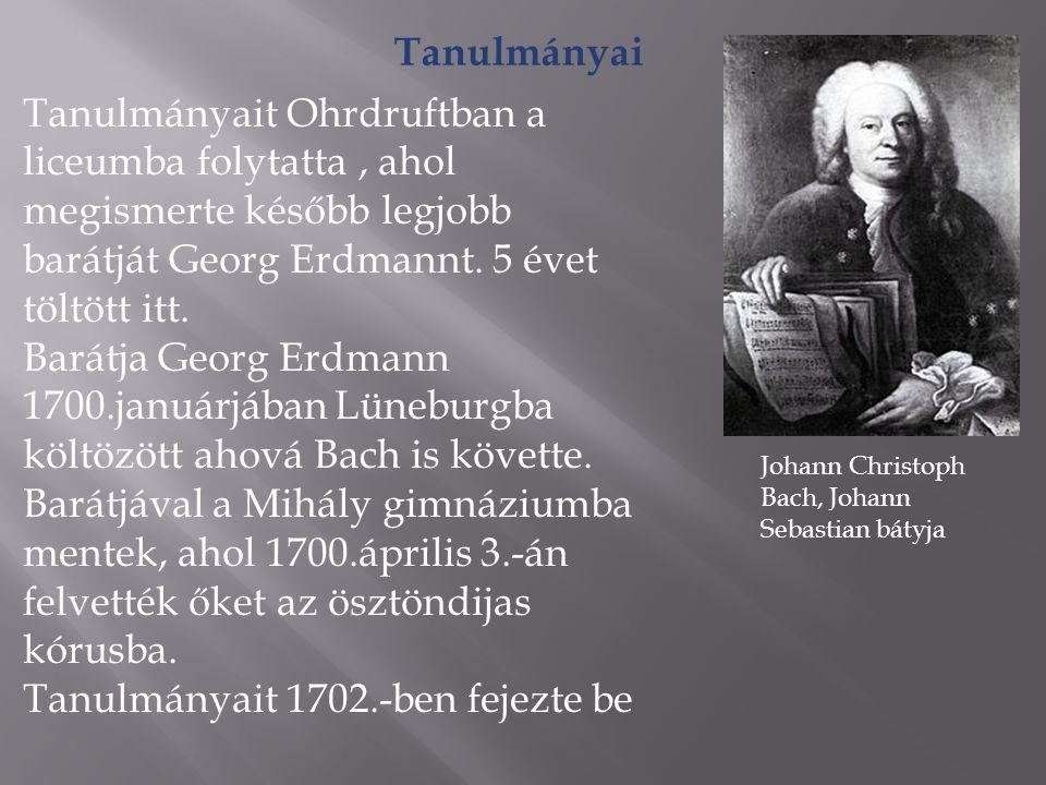 Fiatalkora 1703.áprilisába állást vállal a weimari herceg öccsének udvari zenekarában mint hegedűs.