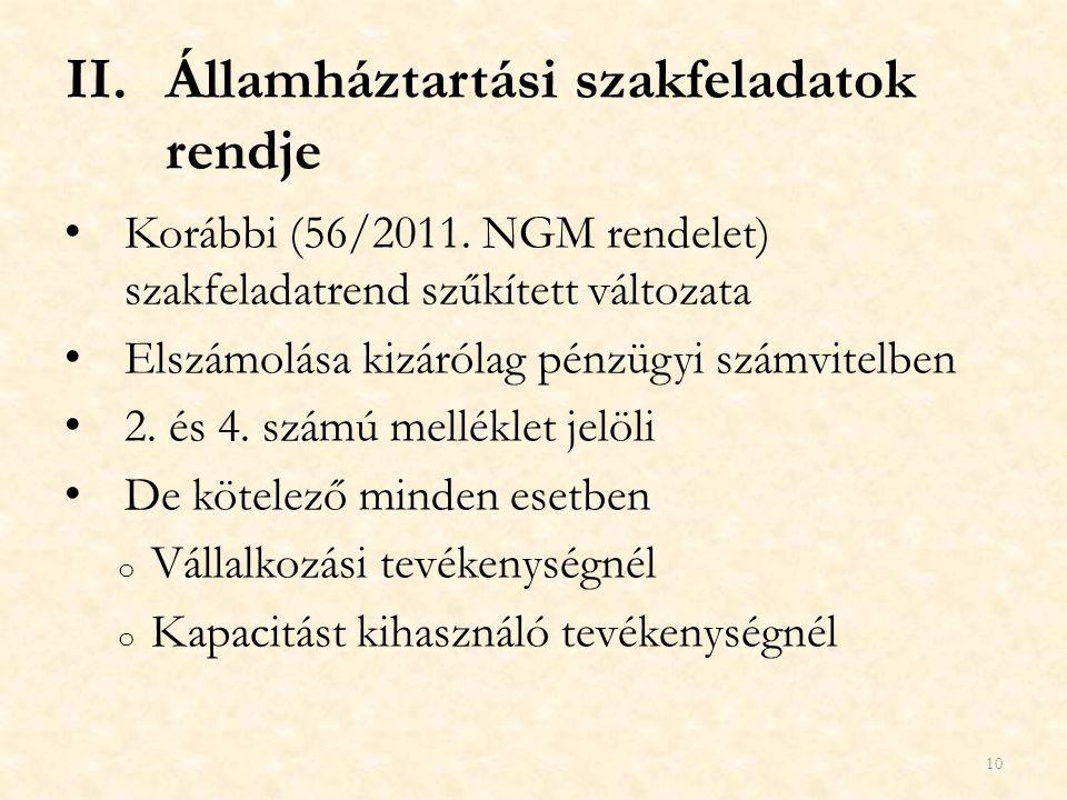 II.Államháztartási szakfeladatok rendje Korábbi (56/2011. NGM rendelet) szakfeladatrend szűkített változata Elszámolása kizárólag pénzügyi számvitelbe