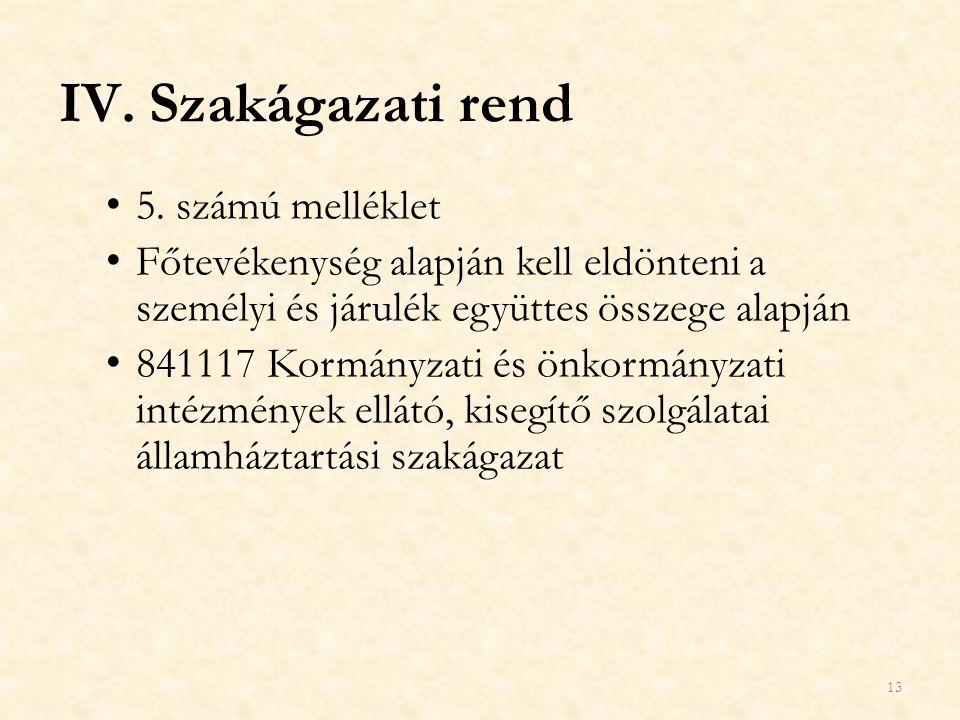 IV.Szakágazati rend 5. számú melléklet Főtevékenység alapján kell eldönteni a személyi és járulék együttes összege alapján 841117 Kormányzati és önkor