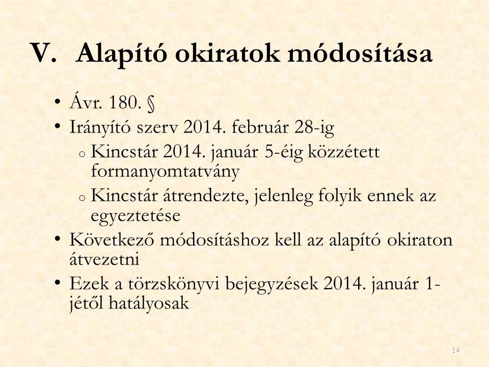 V.Alapító okiratok módosítása Ávr. 180. § Irányító szerv 2014. február 28-ig o Kincstár 2014. január 5-éig közzétett formanyomtatvány o Kincstár átren