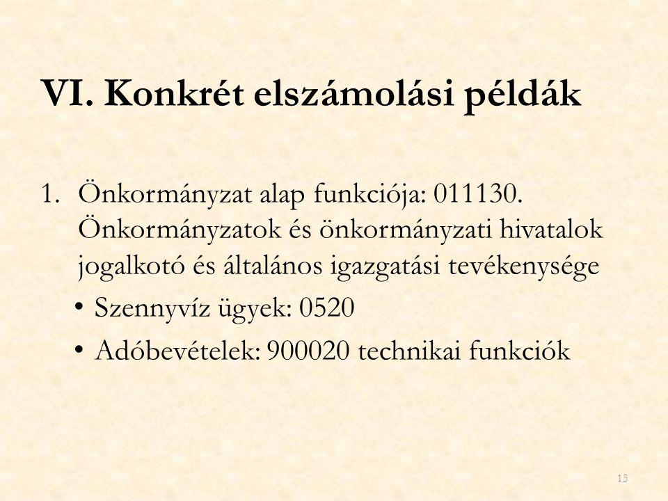 VI.Konkrét elszámolási példák 1.Önkormányzat alap funkciója: 011130. Önkormányzatok és önkormányzati hivatalok jogalkotó és általános igazgatási tevék
