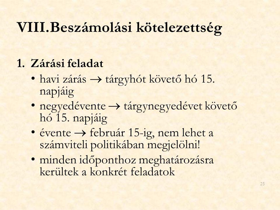 VIII.Beszámolási kötelezettség 1.Zárási feladat havi zárás  tárgyhót követő hó 15. napjáig negyedévente  tárgynegyedévet követő hó 15. napjáig évent