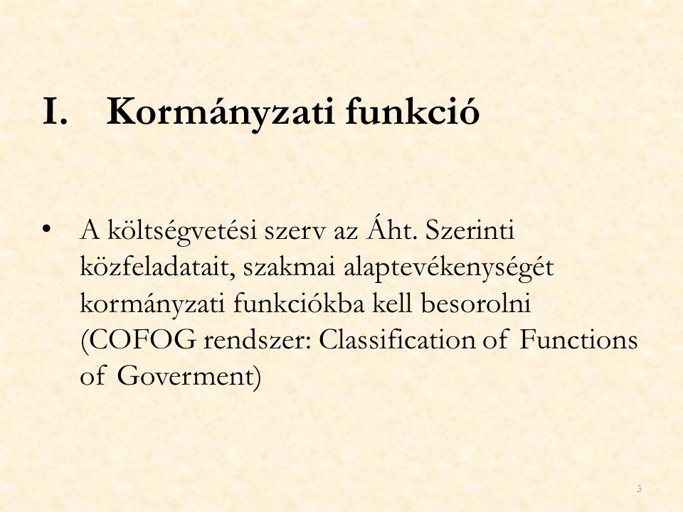 I.Kormányzati funkció A költségvetési szerv az Áht. Szerinti közfeladatait, szakmai alaptevékenységét kormányzati funkciókba kell besorolni (COFOG ren