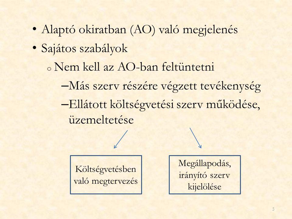 Alaptó okiratban (AO) való megjelenés Sajátos szabályok o Nem kell az AO-ban feltüntetni – Más szerv részére végzett tevékenység – Ellátott költségvet