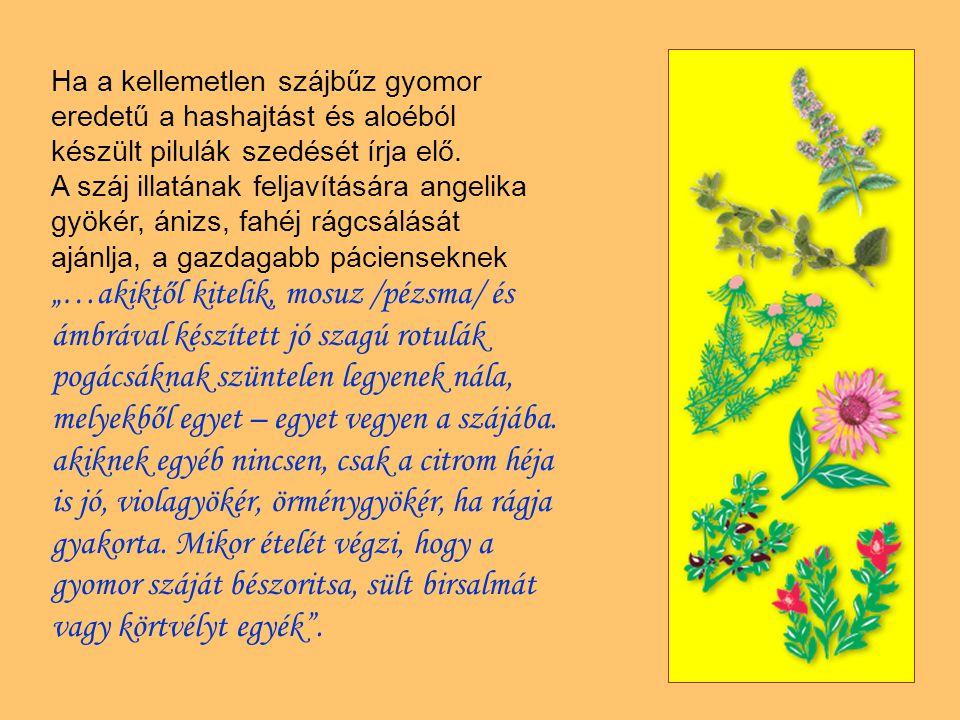 Ha a kellemetlen szájbűz gyomor eredetű a hashajtást és aloéból készült pilulák szedését írja elő. A száj illatának feljavítására angelika gyökér, áni