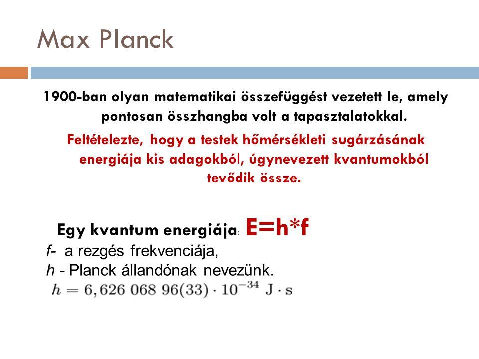 Max Planck 1900-ban olyan matematikai összefüggést vezetett le, amely pontosan összhangba volt a tapasztalatokkal. Feltételezte, hogy a testek hőmérsé