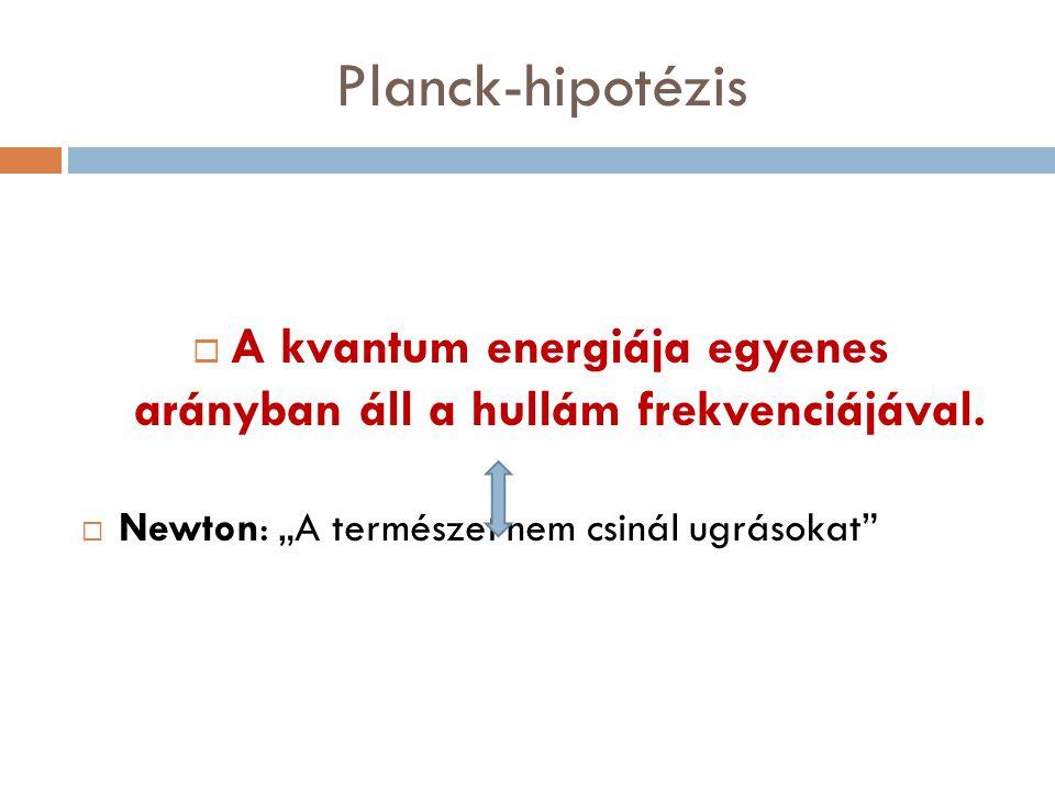 """Planck-hipotézis  A kvantum energiája egyenes arányban áll a hullám frekvenciájával.  Newton: """"A természet nem csinál ugrásokat"""""""