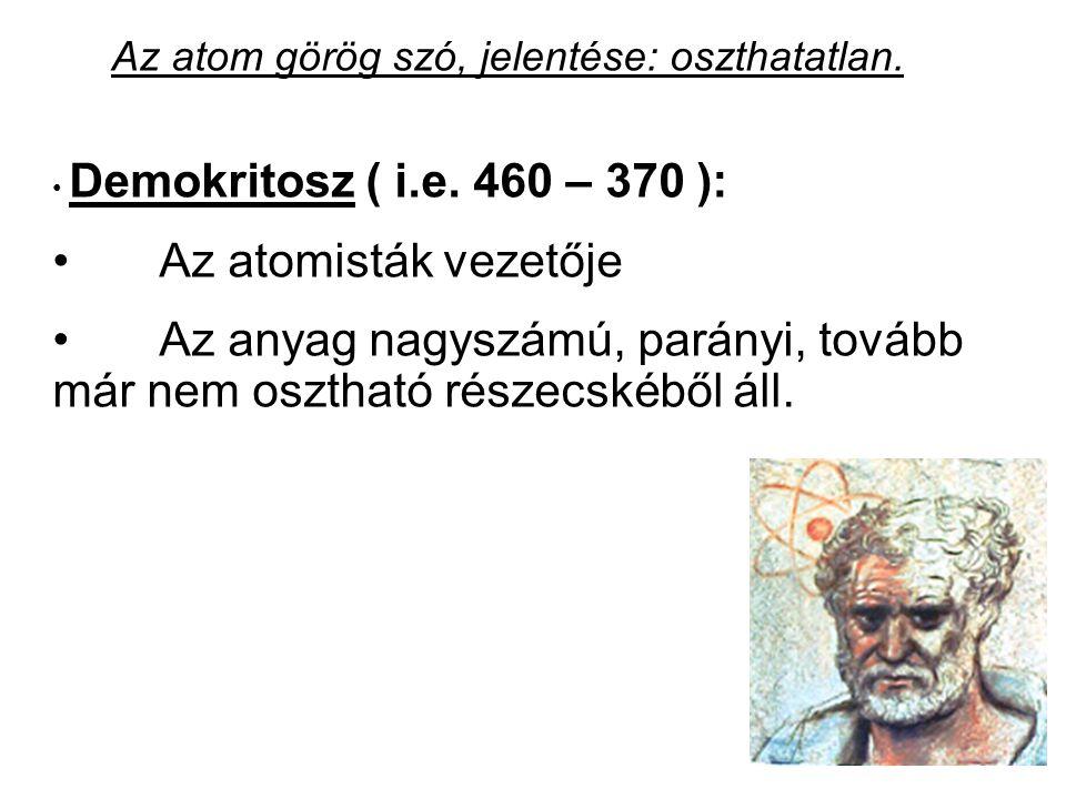 Az atom görög szó, jelentése: oszthatatlan. Demokritosz ( i.e. 460 – 370 ): Az atomisták vezetője Az anyag nagyszámú, parányi, tovább már nem osztható
