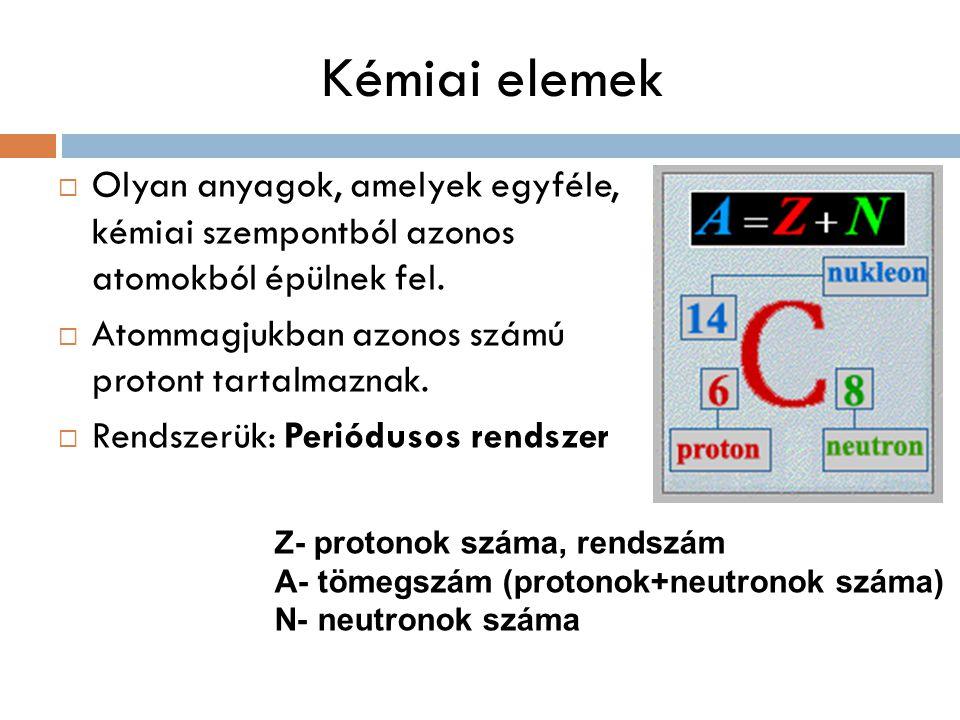 Kémiai elemek  Olyan anyagok, amelyek egyféle, kémiai szempontból azonos atomokból épülnek fel.