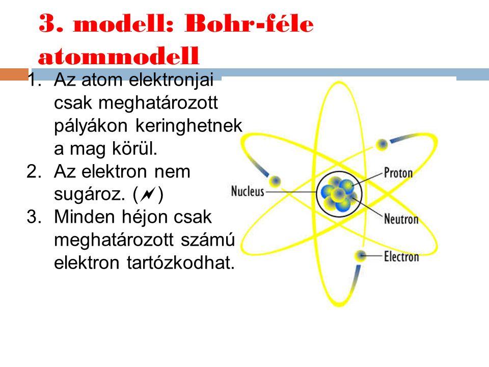 3. modell: Bohr-féle atommodell 1.Az atom elektronjai csak meghatározott pályákon keringhetnek a mag körül. 2.Az elektron nem sugároz. (  ) 3.Minden