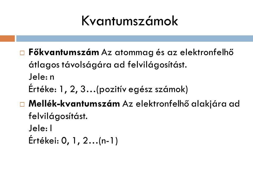 Kvantumszámok  Főkvantumszám Az atommag és az elektronfelhő átlagos távolságára ad felvilágosítást.