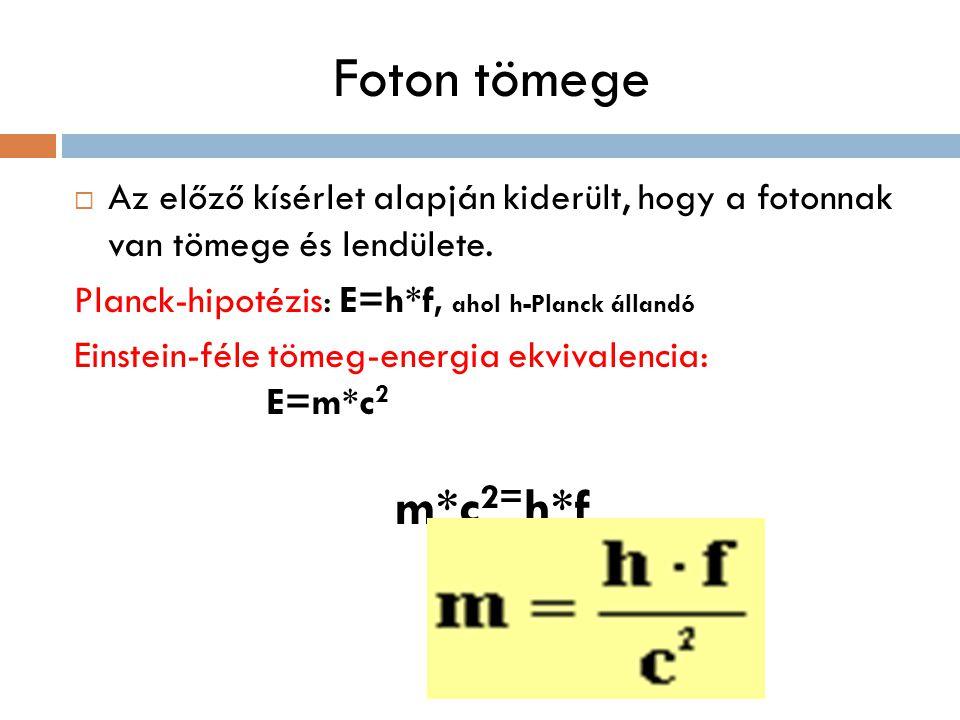 Foton tömege  Az előző kísérlet alapján kiderült, hogy a fotonnak van tömege és lendülete. Planck-hipotézis: E=h*f, ahol h-Planck állandó Einstein-fé